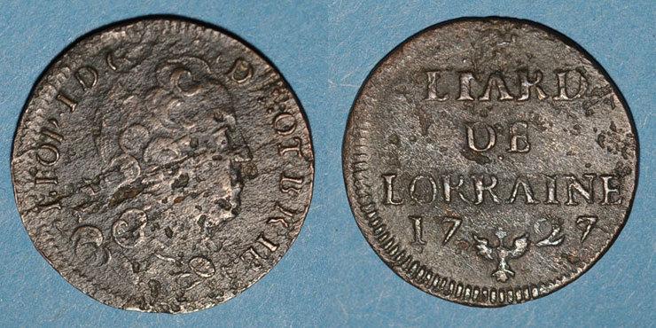 1727 LOTHRINGEN Duché de Lorraine. Léopold I (1697-1729). Liard 1727. Nancy s / s+