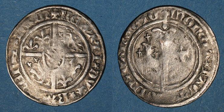 1451-1453 LOTHRINGEN Duché de Lorraine. René I (1451-1453). Demi-gros. Nancy Variante de légende inédite ! Coup / avers, s+ / TB