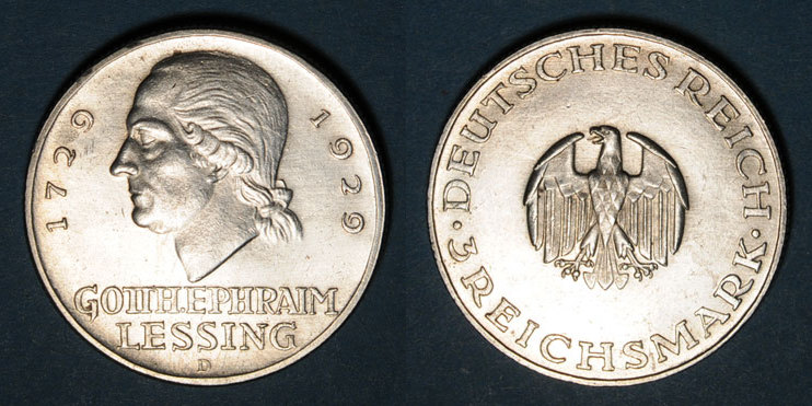 1929 D KAISERREICH MÜNZEN Allemagne. République de Weimar. 3 reichsmark 1929D.