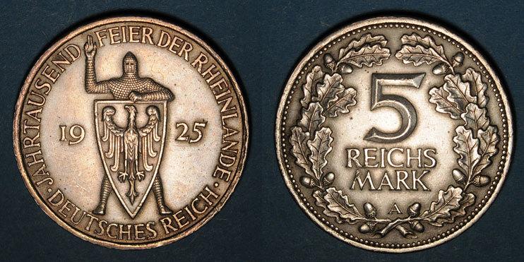 1925 D KAISERREICH MÜNZEN Allemagne. République de Weimar. 5 reichsmark 1925D.