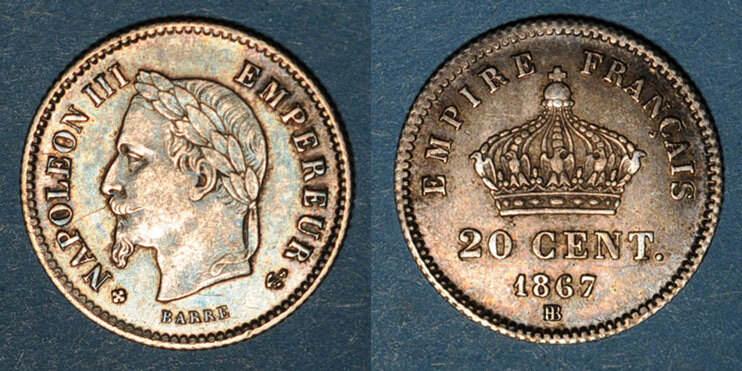 1867 BB FRANZÖSISCHE MODERNE MÜNZEN 2e empire (1852-1870). 20 centimes, tête laurée, grand module, 1867BB. Strasbourg ss-vz