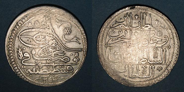 ISLAM Anatolie. Ottomans. Mahmoud I (1143-68H). Qurush1143H / marque d'atelier : 'ayn-alif, Constantinopl s