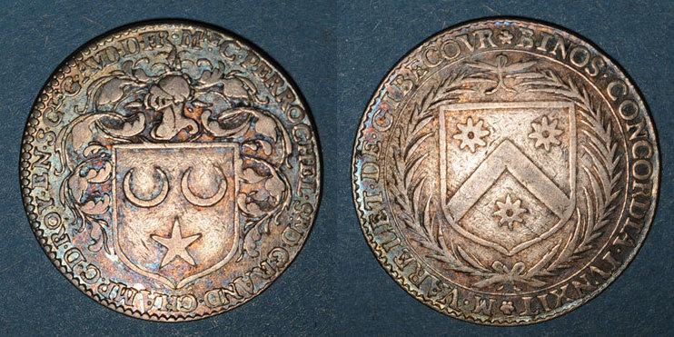 MARKEN - JETONS (RECHENPFENNIGE) Maine. Perrochel C., seigneur de Grandchamp et M. Varelet de Gibecour. Jeton argent n. d. ss