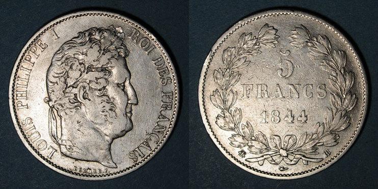 1844 BB FRANZÖSISCHE MODERNE MÜNZEN Louis Philippe (1830-1848). 5 francs 1844BB. Strasbourg Petits chocs / tranche, s-ss