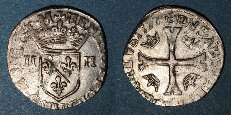 1597 ANDERE FEUDALE MÜNZEN Principauté de Dombes. Henri II de Montpensier (1592-1608). Douzain 1597 Faiblesses de frappe sinon ss