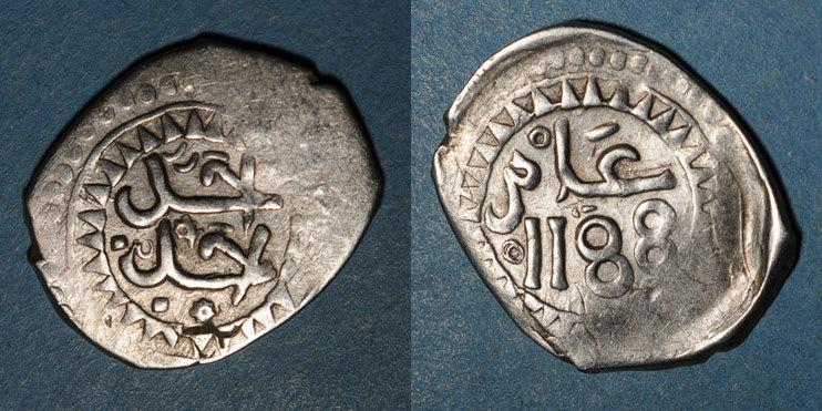 1187H ISLAM Maghreb. 'Alawites. Sidi Muhammad III (1171-1204H). Dirham 1187H s-ss