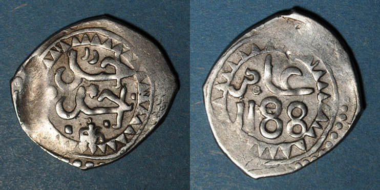 1188H ISLAM Maghreb. 'Alawites. Sidi Muhammad III (1171-1204H). Dirham 1188H s-ss / ss