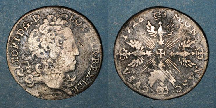 1728 LOTHRINGEN Duché de Lorraine. Léopold (1697-1729). Masson de 12 sous 6 deniers 1728. Nancy B à s / s