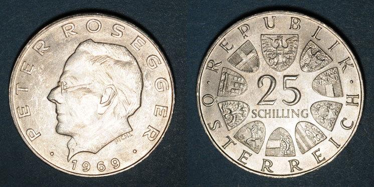 1969 EUROPA Autriche. République. 25 schilling 1969.