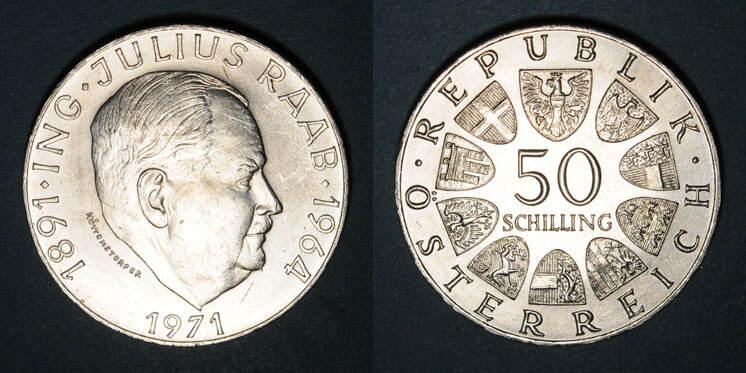 1971 EUROPA Autriche. République. 50 schilling 1971.