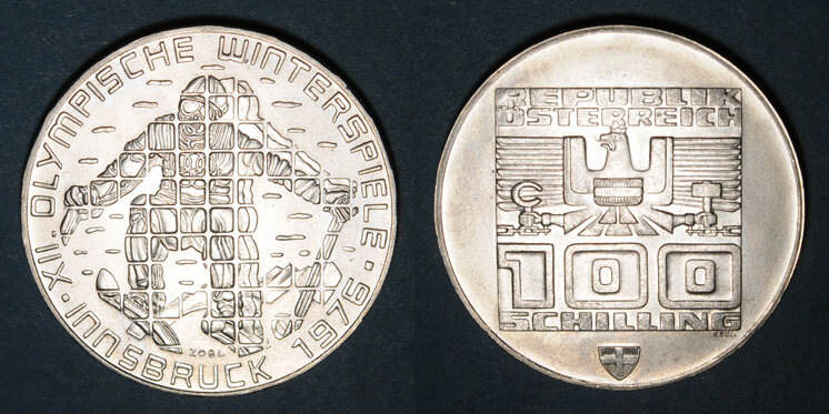 1975 EUROPA Autriche. République. 100 schilling (1975).