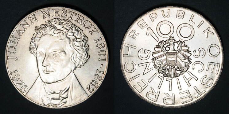 1976 EUROPA Autriche. République. 100 schilling 1976.