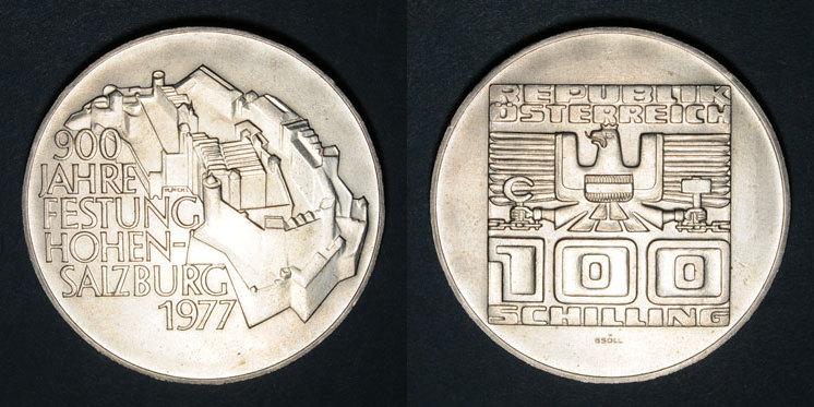 1977 EUROPA Autriche. République. 100 schilling 1977.