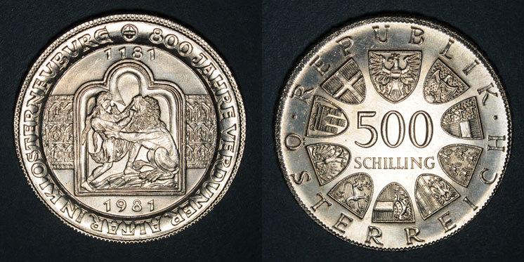 1981 EUROPA Autriche. République. 500 schilling 1981.