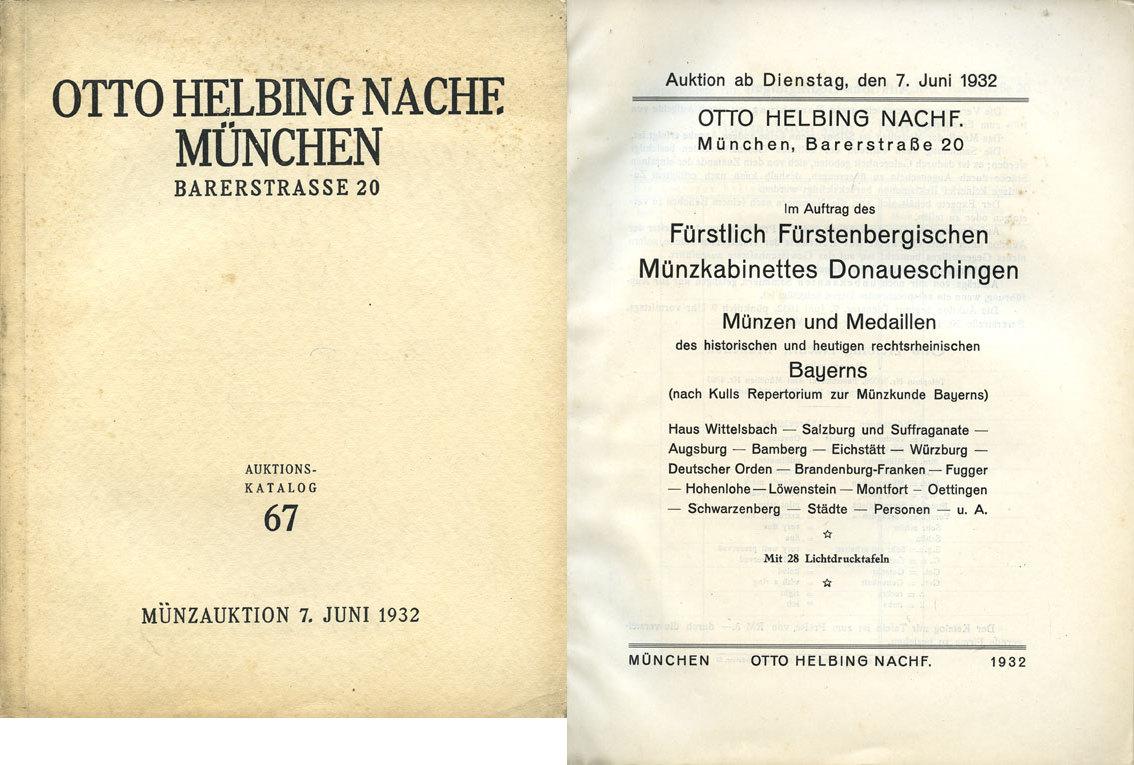 1932-06-07 NUMISMATIKBÜCHER Helbing O., Munich. Auktions Katalog n° 67 du 07.06.1932 Couverture papier défraîchie sinon très bon état intérieur.