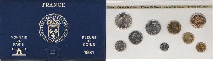 1981 FRANZÖSISCHE MODERNE MÜNZEN 5e république (1959-), série FDC 1981 st