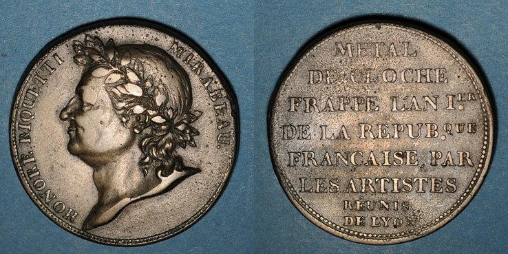 1792-1795 FRANZÖSISCHE MODERNE MÜNZEN Convention (1792-1795). Essai à l'effigie de Mirabeau s-ss