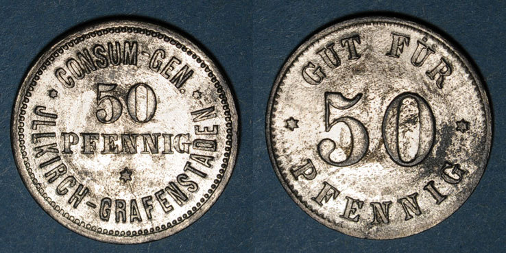1873-79 FRANZÖSISCHE NOTMÜNZEN Illkirch-Graffenstaden (67). Consum-Genossenschaft (1873-79). 50 pfennig ss