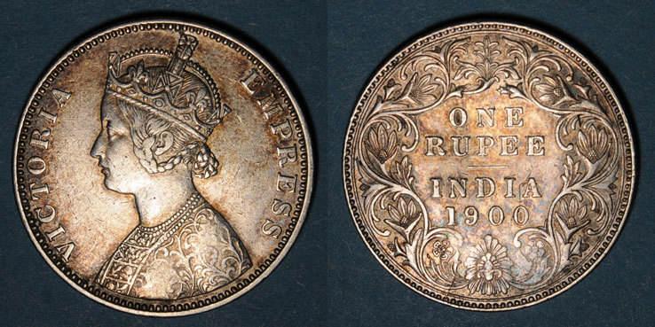 1900 B WELTMÜNZEN H bis P Indes anglaises. Victoria (1837-1901). Roupie 1900B (incus), Bombay ss