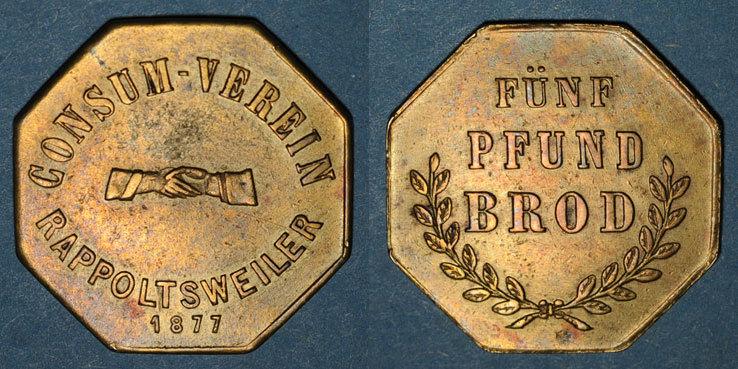 1877 FRANZÖSISCHE NOTMÜNZEN Ribeauvillé (68). Consum Verein. Fünf Pfund Brod (5 livres de pain). 1877. Flan mince ss