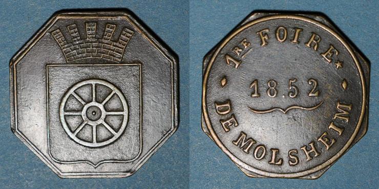 1852 ELSAß Alsace. Molsheim. 1ère Foire. 1852. Jeton laiton octogonal. 28,7 mm. ss+