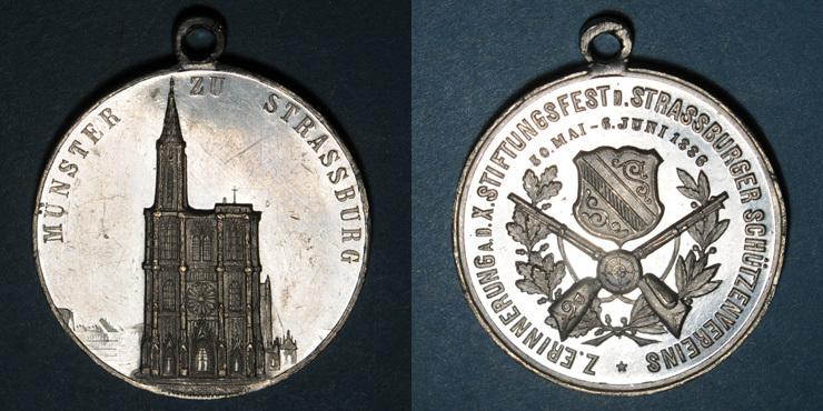 1886 ELSAß Alsace. Strasbourg. 10e concours de tir du Club de tir de Strasbourg. 1886. Médaille étain Quelques très petites égratignures à l'avers sinon ss-vz / vz