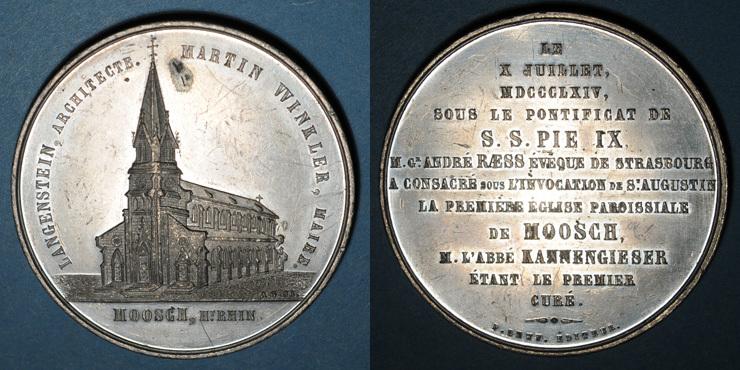 1864 ELSAß Alsace. Moosch. Consécration de l'église St Augustin. 1864. Médaille étain. 51 mm Petite tache et quelques très petites égratignures, ss-vz