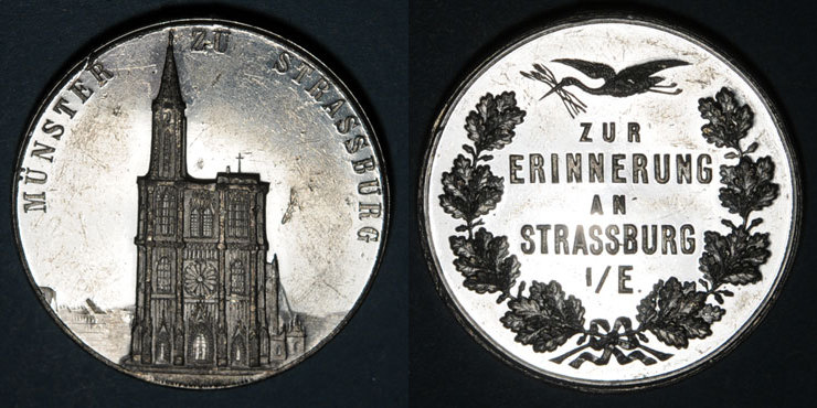 ELSAß Alsace. Souvenir de Strasbourg. Médaille étain. 36,1 mm. Gravée pazr Müller et Vogtenberger Petites égratignures, ss-vz