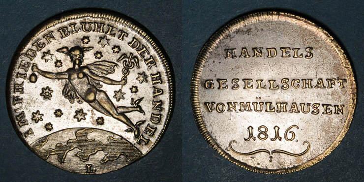1816 ELSAß Mulhouse. Association des Commerçants. Jeton 1816. Laiton argenté vz / ss+