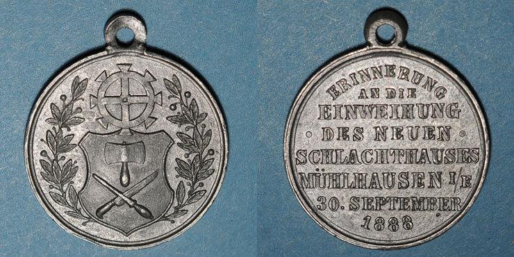 1888 ELSAß Alsace. Mulhouse. Inauguration des nouveaux abattoirs. 1888. Médaille étain. 28,77 mm ss+