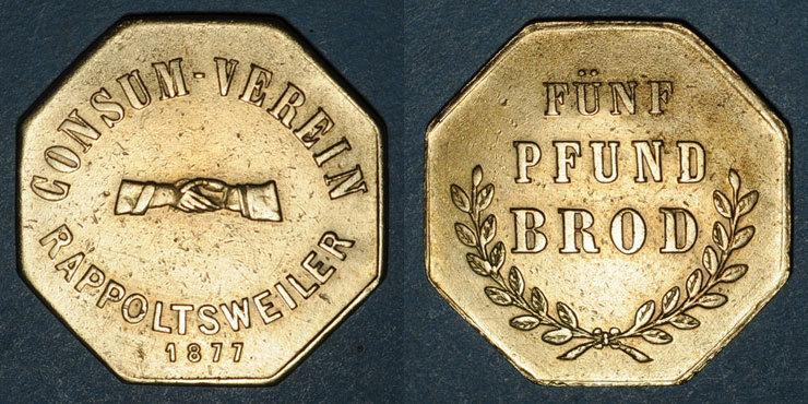 1877 FRANZÖSISCHE NOTMÜNZEN Ribeauvillé (68). Consum Verein. Fünf Pfund Brod (5 livres de pain). 1877. Flan mince Petite corrosion / avers et revers sinon ss