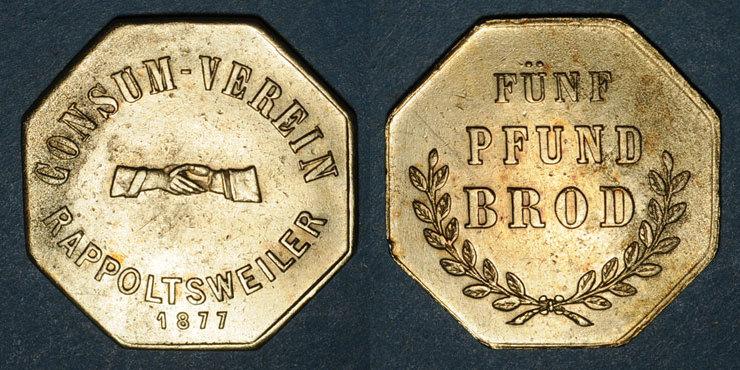 1877 FRANZÖSISCHE NOTMÜNZEN Ribeauvillé (68). Consum Verein. Fünf Pfund Brod (5 livres de pain). 1877. Flan mince Corrosion / avers et revers sinon ss