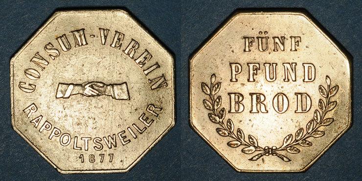 1877 FRANZÖSISCHE NOTMÜNZEN Ribeauvillé (68). Consum Verein. Fünf Pfund Brod (5 livres de pain). 1877. Flan épais Très légère corrosion / avers et revers sinon ss