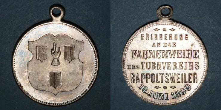 1899 ELSAß Alsace. Ribeauvillé. Consécration drapeau société de gymnastique. 1899. Médaille laiton argenté vz