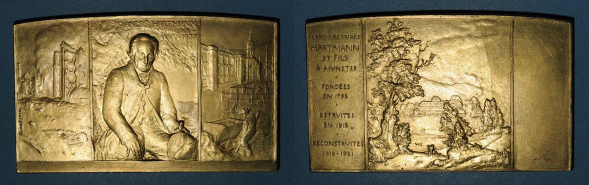 1921 ELSAß Alsace. Munster. Reconstruction des manufactures Hartmann et Fils. 1921. Plaquette bronze R ! R ! Petite cassure de coin au revers. vz