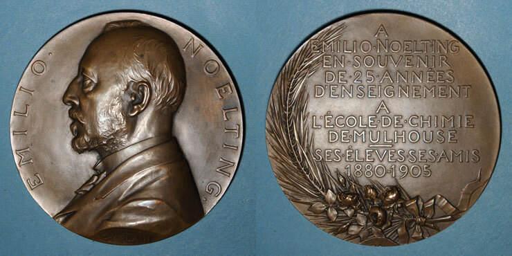 1905 ELSAß Alsace. Mulhouse. Emilio Noelting, directeur le l'Ecole de Chimie de Mulhouse. 1905. Médaille bronze vz