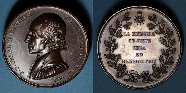 1740-1826 ELSAß Alsace. Strasbourg. Jean Frédéric Oberlin (1740-1826). Médaille. Bronze. 45 mm. Gravée par Kirstein R ! Egratignures, ss+