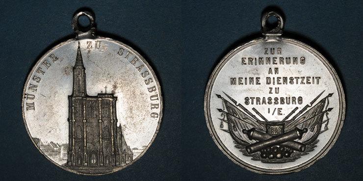 ELSAß Souvenir du service militaire à Strasbourg. Etain. 35,9 mm. Gravée par Vogtenberger Rare ! vz