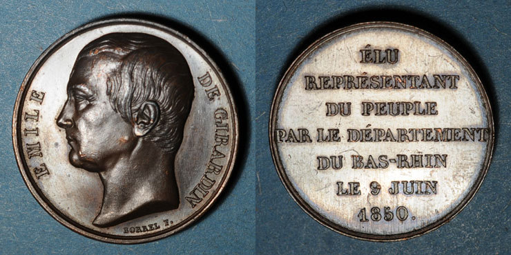 1850 ELSAß Emile de Girardin, député du Bas-Rhin. 1850. Cuivre. 25,13 mm. Gravée par Borrel. R ! Fines rayures sur le haut de la chevelure sinon vz