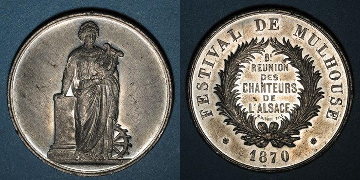 1870 ELSAß Alsace. Festival de Mulhouse. 8e réunion des chanteurs d'Alsace. 1870. Médaille en étain. 42 mm Très petit choc sinon vz