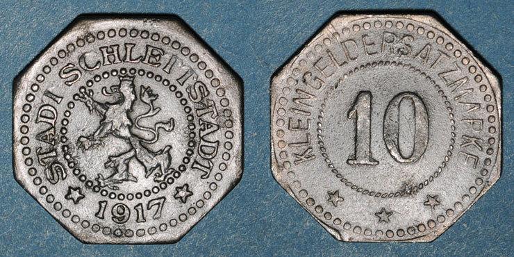 1917 FRANZÖSISCHE NOTMÜNZEN Sélestat (67). 10 (pfennig) 1917 ss