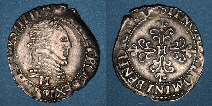1591 M FRANZÖSISCHE KÖNIGLICHE MÜNZEN Monnayage de la Ligue au nom de Henri III (1589-1596). 1/4 franc au col plat 1591M. Toulouse Flan court sinon ss+