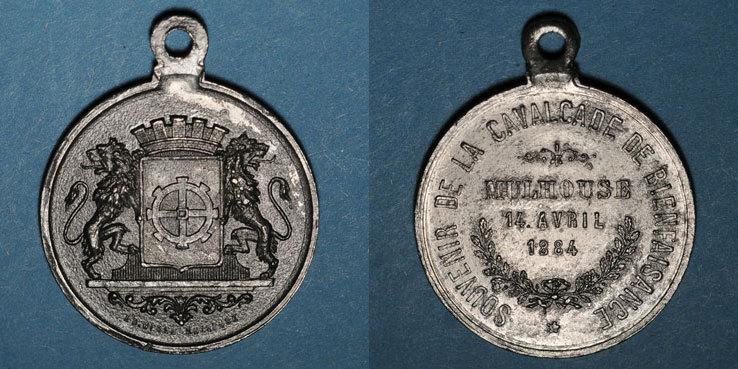 1884 ELSAß Alsace. Mulhouse. Cavalcade de bienfaisance. 1884. Médaille en laiton. 28 mm Petit coup / listel avers, s+