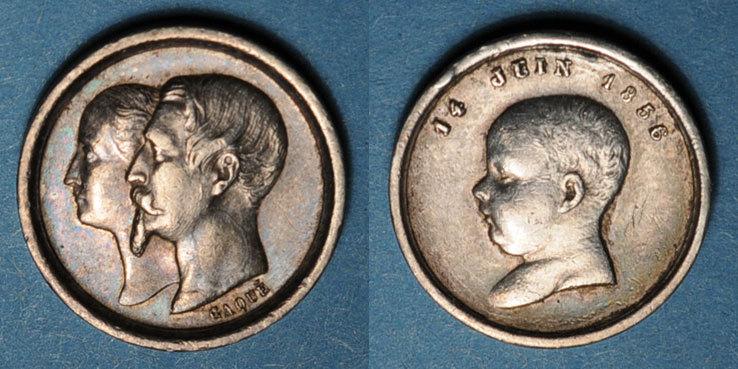 1856 MEDAILLEN Naissance du Prince impérial. 1856. Médaille en argent. 14 m. Gravée par Caqué Petit choc / tranche sinon ss+