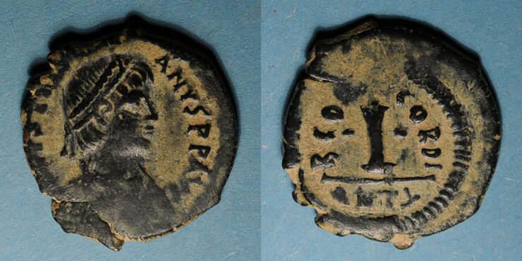 527-528 n. Chr. BYZANZ Empire byzantin. Justinien I (527-565). Décanoummion. Antioche, 2e officine, 527-528 R ! R ! s-ss / ss
