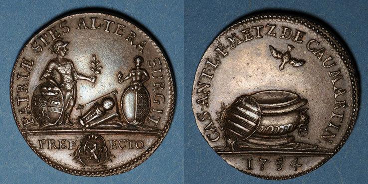 1754 LOTHRINGEN Lorraine. Casimir Antoine Metz de Caumartin, intendant. Jeton cuivre 1754 Très rare en cette qualité ! vz