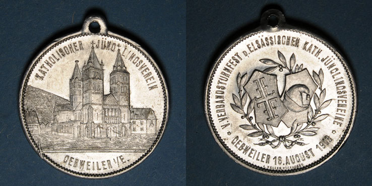 1903 ELSAß Guebwiller. 5e tournoi des cercles de gymnastique des jeunesses catholiques d'Alsace. 1903 Petite rayure / avers, sinon ss+