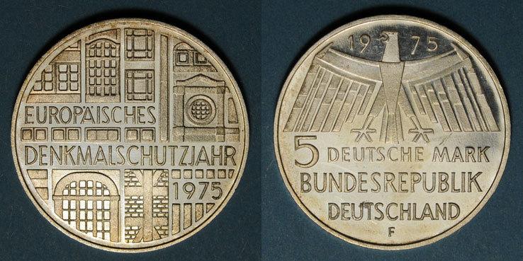 1975 F KAISERREICH MÜNZEN Allemagne. 5 mark 1975F.