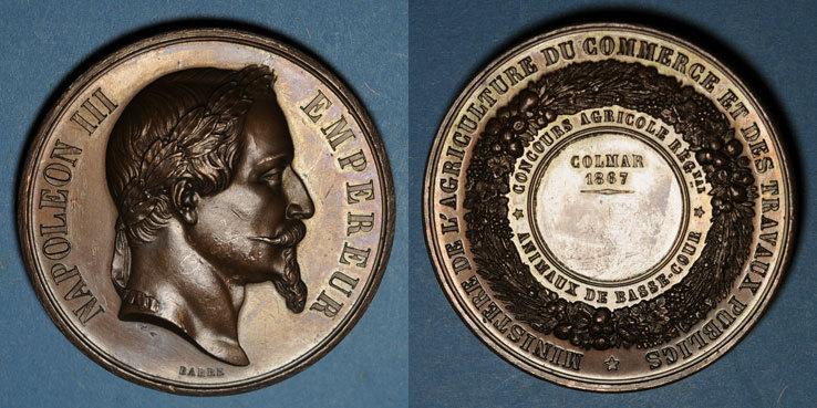 1867 ELSAß Alsace. Colmar. Concours agricole régional - Animaux de basse-cour. 1867. Médaille cuivre. 51,68 mm Petites marques de contact, ss+