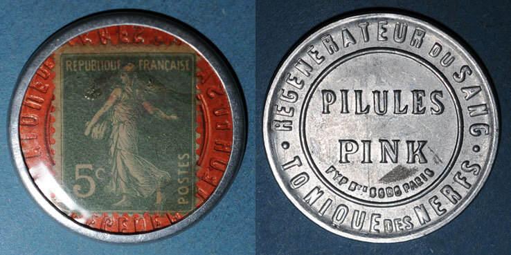 FRANZÖSISCHE NOTMÜNZEN Paris (75). Pilules Pink. 5 centimes (vert/rouge) ss-vz